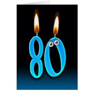Carte quatre-vingtième Bougies d'anniversaire