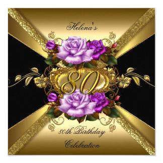 Carte quatre-vingtième Noir pourpre de roses d'or de