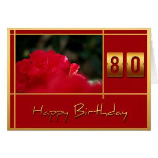 Carte quatre-vingtième Rhododendron d'anniversaire +