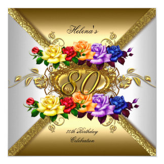 Carte quatre-vingtième Roses multi d'or de couleur de
