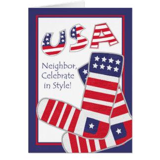 Carte Quatrième de juillet pour le voisin, chaussettes