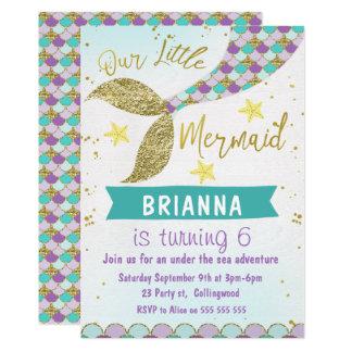 Carte Queue de sirène sous l'invitation d'anniversaire