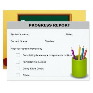 Carte Rapport sur l'état d'avancement de l'étudiant