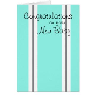 Carte rayée de nouvelles félicitations de bébé
