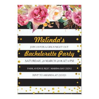 Carte rayée noire et blanche de partie de carton d'invitation  12,7 cm x 17,78 cm