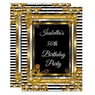 Carte Rayure blanche de noir d'or de fête d'anniversaire