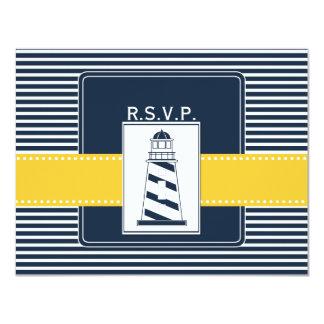 Carte rayures de marine, phare, rsvp nautique de mariage