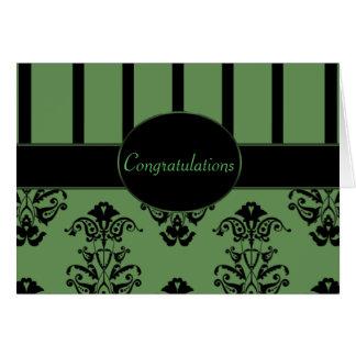 Carte Rayures de vert olive et de noir, le baroque de