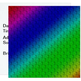 Carte Rayures et fleurs diagonales colorées