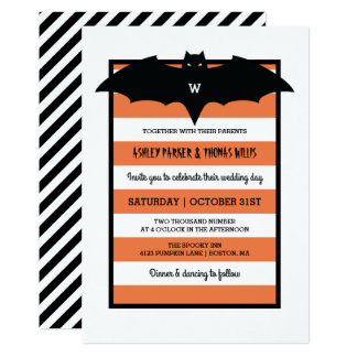 Carte Rayures et mariage orange du monogramme  