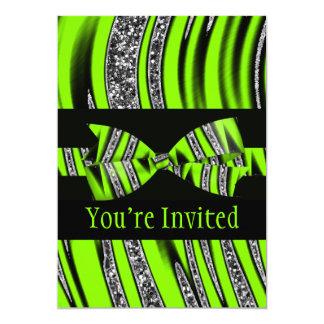 Carte Rayures vertes et noires au néon de parties