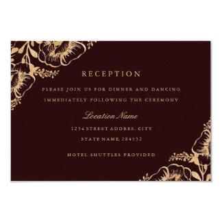 Carte Réception de mariage florale de Bourgogne d'or