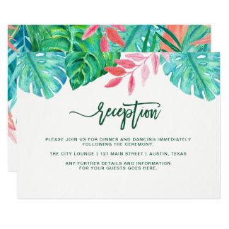 Carte Réception de mariage tropicale à la mode