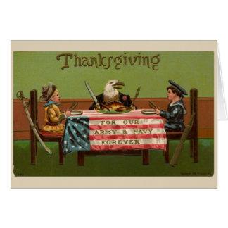 Carte Reconnaissant pour les militaires le thanksgiving,