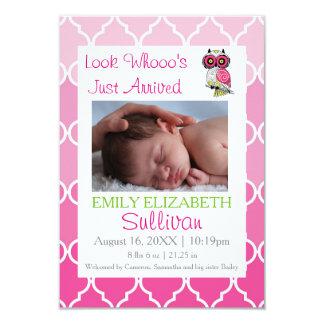 Carte Regardez l'annonce rose arrivée de la naissance