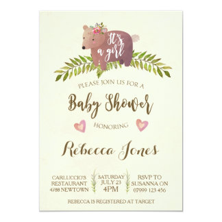 Carte région boisée d'invitation de baby shower de fille