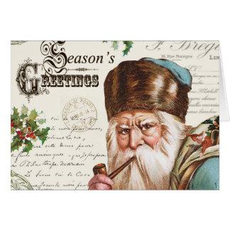 Carte région boisée vintage Père Noël