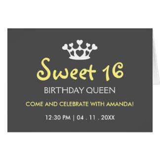 Carte Reine d'anniversaire de sweet sixteen - gris jaune
