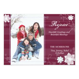 Carte RÉJOUISSEZ-VOUS la photo de famille florale chic