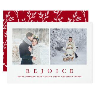 Carte Réjouissez-vous la photo rouge moderne de Noël