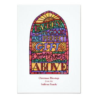 Carte religieuse de vacances de Non-Photo en verre Carton D'invitation 12,7 Cm X 17,78 Cm