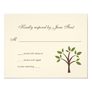 Carte Réponse feuillue de mariage d'arbre