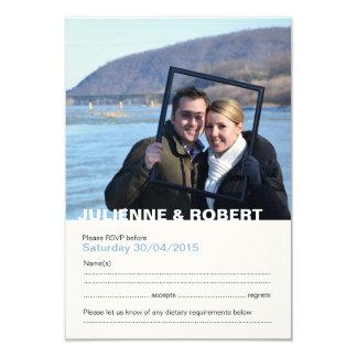 Carte Réponse moderne de mariage de photo de bleus
