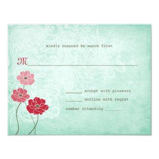 Carte Réponse vintage florale et de feuille