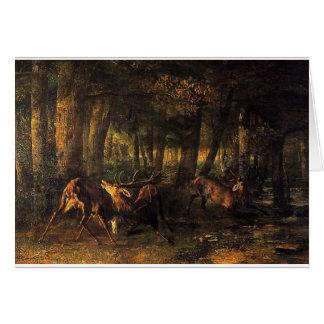 Carte Ressort, mâles combattant par Gustave Courbet