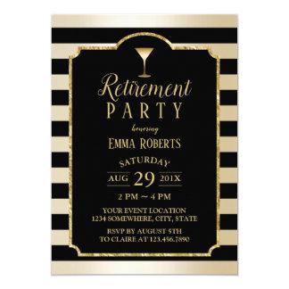 Carte Retraite moderne de cocktail de noir et d'or