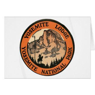 Carte Rétro étiquette vintage de loge de Yosemite