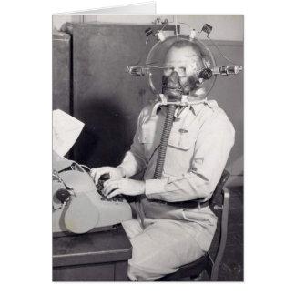 Carte Rétro homme de masque de gaz