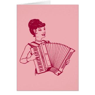 Carte Rétro Madame d'accordéon