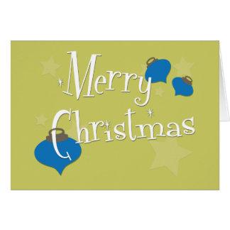 Carte Rétro Noël olive d'ornement
