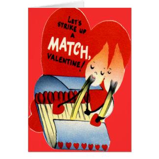Carte Rétro pochette d'allumettes vintage Valentine