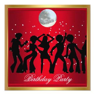 Carte Rétro rouge de fête d'anniversaire des années 70
