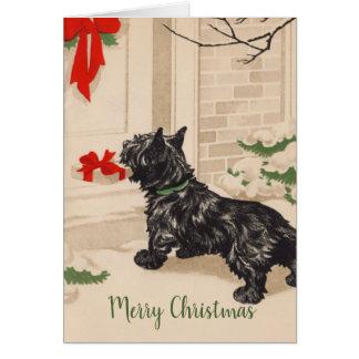 Carte Rétro Terrier livrant le cadeau de Noël