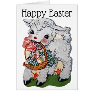 Carte Rétro/vintage agneau de Pâques