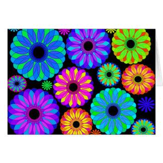 Carte Rétros motifs de fleur colorés sur l'arrière -