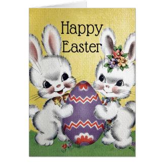 Carte Rétros/vintages lapins de Pâques