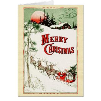 Carte Réveillon de Noël vintage Père Noël, Sleigh et
