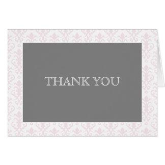 Carte Rêves doux dans la note rose de Merci de damassé