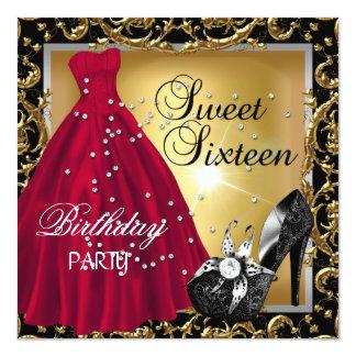 Carte Robe rouge d'or de fête d'anniversaire du sweet