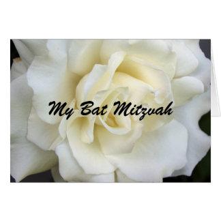 Carte Rose blanc, mon bat mitzvah