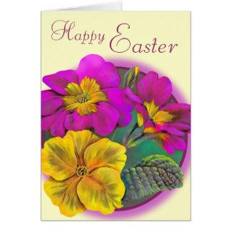 Carte Carte rose crème heureuse d'art de Pâques de