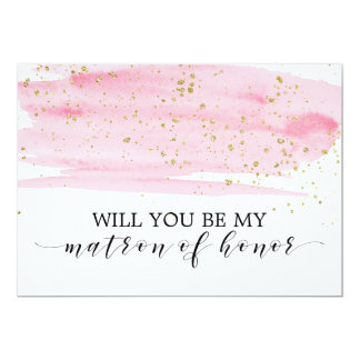 Carte Rose d'aquarelle vous serez ma dame de honneur