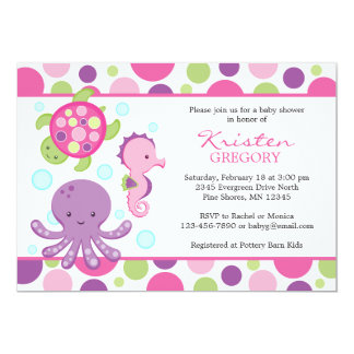 Carte Rose de │ d'invitations de baby shower de mer de