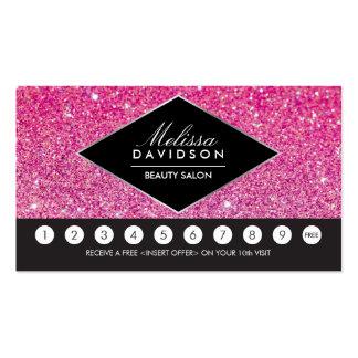 Carte rose de fidélité de salon de scintillement carte de visite standard