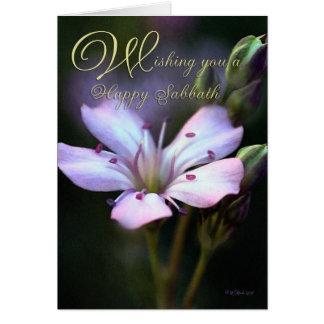 Carte rose de jour de sabbat de fleur