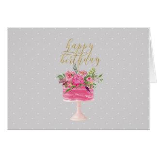 Carte rose de joyeux anniversaire de gâteau d'or